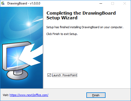 DrawingBoard Microsoft PowerPoint add-on click finish to complete installation process ready to use
